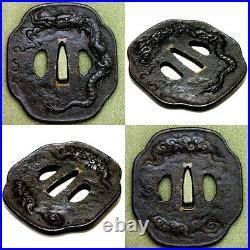 004 Japanese Samurai Edo Antique Un-ryu zu Excellent katana big tsuba