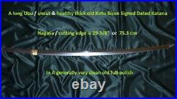29-3/8 KOTO BIZEN KATANA SUKESADA & DATED 1573 + PAPER Japanese Sword Tsuba