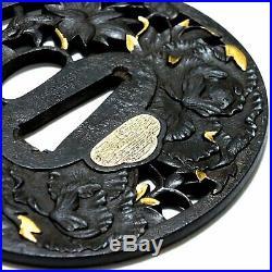 354B Japanese Samurai Edo Antique Aishishibori botan zu Excellent daito tsuba