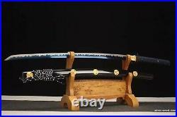40.1 Battle ready 9260spring steel blue blade katana sword iron tsuba sharpened