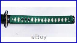9260 Spring Steel Green Katana Japanese Sword Iron Tsuba Unokubi-Zukuri Blade