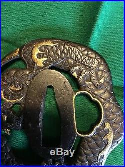 Antique Edo Period Japanese sword Dragon Tsuba Signed- Choshu Ju Tomokiyo