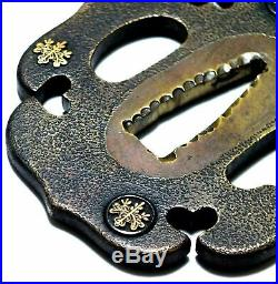 Antique Iron Japanese Samurai Brass Tanto Tsuba Edo Era Rare