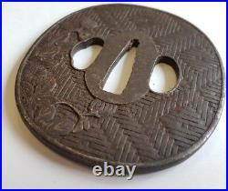 Antique Iron Tsuba Edo Era Japanese Sword Guard Samurai Katana Original Rare 03