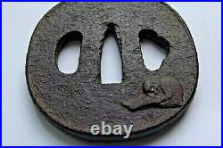 Antique Iron Tsuba Monkey Early Edo Era Japanese Sword Guard Samurai Katana