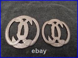 Antique Japanese Dai/Sho Two Tsuba Set, Iron Tsuba, Katana & Wakizashi Size