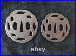 Antique Japanese Dai/Sho Two Tsuba Set-Rabbits- Iron Tsuba, Katana & Wakizashi