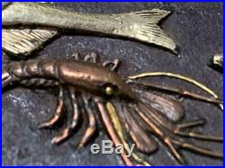 Antique Japanese Fish and Lobster Tsuba sword koshirae katana samurai Japan Rare