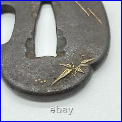 Antique Japanese Inlay Iron Tsuba For Katana Samurai Sword Edo period bird motif