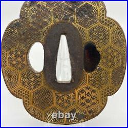 Antique Japanese Inlay Iron Tsuba For Katana Sword Turtle Shell Pattern withBOX