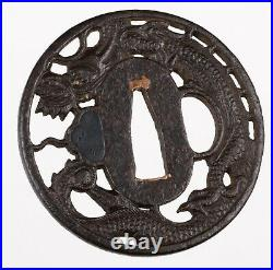 Antique Japanese Iron Echizen Kinai School tsuba signed Kinai Dragon