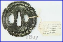 Antique Japanese Iron Mokko Gata Tsuba, Kamakurabori Style, Muromachi Period