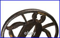 Antique Japanese Iron Sukashi Tsuba with Higo School Style Nunome Zogan Inlay