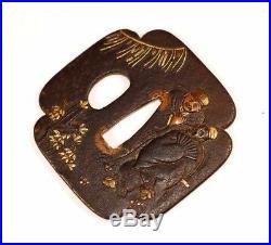 Antique Japanese Iron TSUBA Katana Edo Samurai Sword Fitting