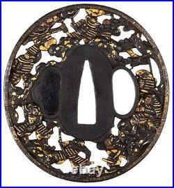 Antique Japanese Iron Tsuba Signed Mogarashi Nyudo Soten Sei Samurai