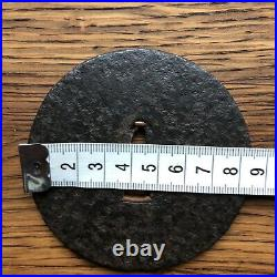 Antique Japanese Iron Tsuba with NBTHK Certification Paper Round Humble Plain