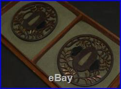 Antique Japanese KATANA SWORD TACHI TSUBA Leaves Gold Inlay Edo Era S/M set