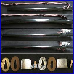 Antique Japanese KOSHIRAE Tsuba Tsuka Saya Katana Sword Zanketsu Samurai Edo era