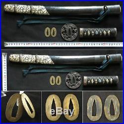 Antique Japanese KOSHIRAE Wakizashi Dragon Tsuba Saya Katana Sword Edo Signed