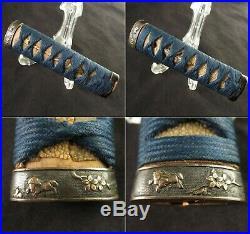 Antique Japanese KOSHIRAE Wakizashi Tsuba Tsuka Saya Katana Sword Edo era Signed