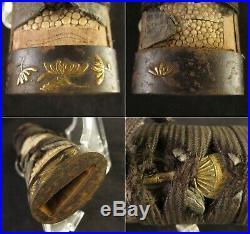 Antique Japanese KOSHIRAE Zanketsu Tsuba Tsuka Saya Katana Sword Edo era Signed