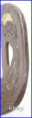 Antique Japanese Katana Tsuba Iron Moon Pine Tree Samurai Sword Guard Old