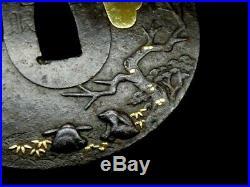 Antique Japanese Moon Rabbit Tsuba NBTHK paper sign Edo sword koshirae