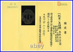 Antique Japanese Mumei AkikusaniMushizu Tsuba withCertificate From Tokyo Japan