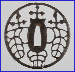 Antique Japanese Owari School Iron Paulownia Sukashi Tsuba Gosan-No-Kiri