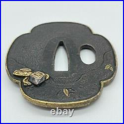 Antique Japanese Real Old Inlay Iron Tsuba For Katana, Beautiful Eagle design