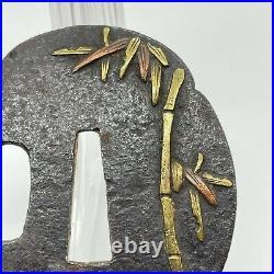 Antique Japanese Real Old Inlay Iron Tsuba For Katana Samurai Sword Bamboo