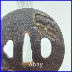 Antique Japanese Real Old Inlay Iron Tsuba For Katana Samurai Sword Dragon