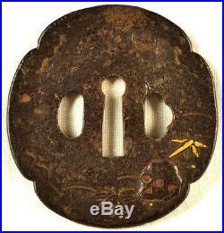 Antique Japanese Sword Tachi Old Tsuba Skull Gold Bamboo Seppa Dai Hand Forged