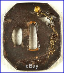Antique Japanese Tanto Sword Tsuba Pea Flower Vine Leaves Gold Forged Iron Old