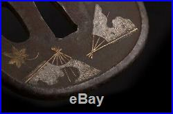 Antique Japanese Tsuba Daisho Set Iron Broken Fans