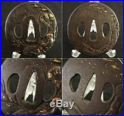 Antique Japanese Tsuba Kanzan-jittoku Two poets iron Sword gold copper inlay Edo
