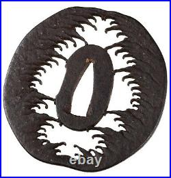 Antique Japanese Wave Sukashi Iron Tsuba With Silver Droplets