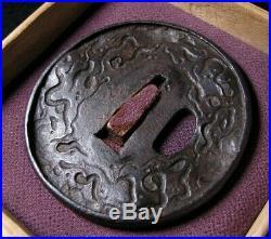 Antique KATANA TSUBA Japanese Samurai Sword Iron Kiri Edo Ohj7023