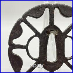 Antique Real Japanese Iron Tsuba For Katana Samurai Sword Sukashi Pattern