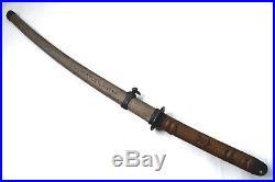 Antique japanese WWII army iron sheath saya koshirae katana sword tsuba armor
