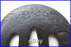 Antique japanese ebishu god motif daisho tsuba set sword armor katana