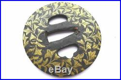Antique japanese gold inlay flower leaf motif big tsuba with box armor sword