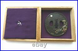 Antique japanese gold silver inlay moon flower leaf frog motif tsuba