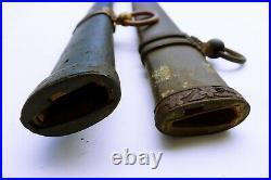 Antique japanese long army gunto 2 iron saya set tsuba sword armor