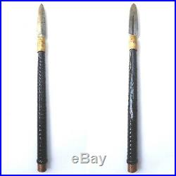 Antique japanese yari (spear)with koshirae katana sword tsuba armor