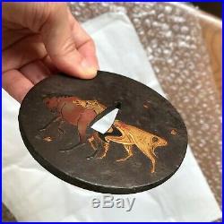 Authentic rare Japanese antique cased boxed Tsuba Horse Petal Edo Myochin school