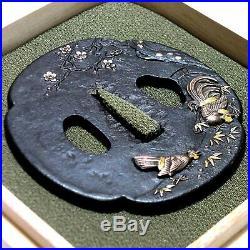 B370 Japanese Samurai Edo Antique Takahori zogan tsugaidori zu great daito tsuba