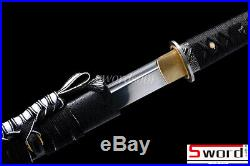 Black Ninja Sword Japanese Samurai Ninjato Carbon Steel StraightBlade Iron Tsuba