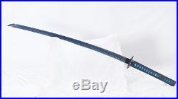 Blue Katana Folded Steel Japanese Sword Blue Blade Iron Tsuba Full Tang Sharp