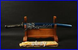 Clay Tempered Folded 1095 Carbon Steel Wakizashi Japanese Sword Iron Tsuba Sharp